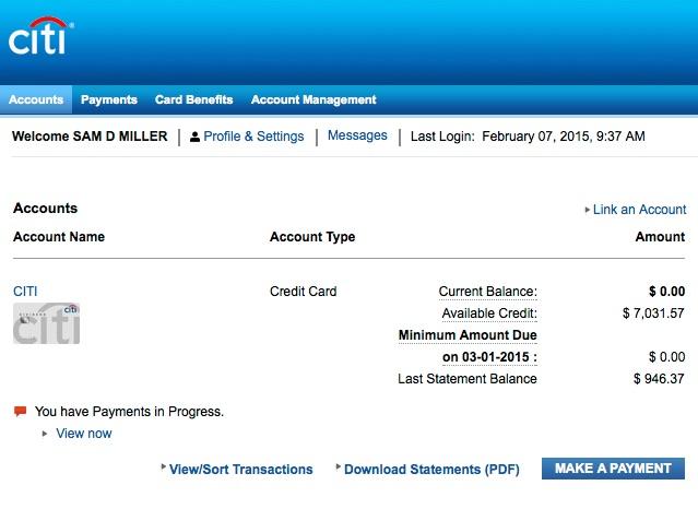 Citi Card Paid Off Sam Miller